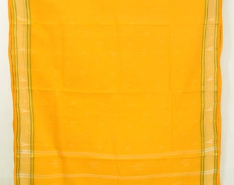 Vintage Indian Textile Yellow Fabric Saree Crafting Drapery Sari TP3808