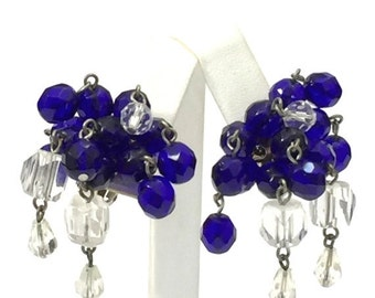 Deep Sapphire and Clear Glass Cha Cha Earrings, Glass Beads Dangle Earrings, Eight Dangles, 1940s 1950s