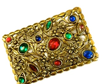 Large 1940s Gilt Rhinestone Brooch, Jewel Tone Rhinestones, Floriated Design, 1940s