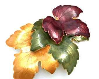 Brooch Sale Enamel Leaf Brooch, Gold Green Merlot Leaves, Gold Tone Metal