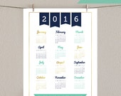 Printable Wall Calendar - Faux Gold Foil - 2016 Wall Calendar - Navy & Mint Green - Instant Download