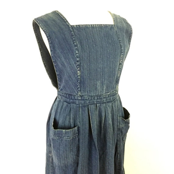 Vintage pinafore denim overalls Laura Ashley denim twill dress flared skirt tabard top utility style patterned jean fabric UK 12 14