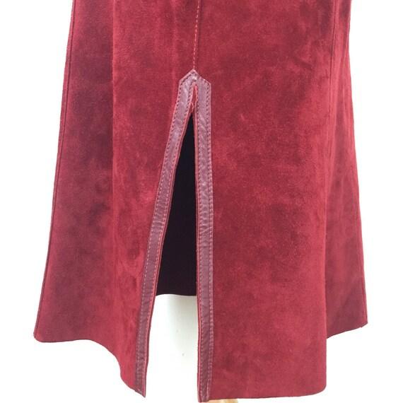 vintage suede skirt 1970s A line knee length skirt dark burgundy red real leather boho 70s plus size UK 16 US 12 side splits