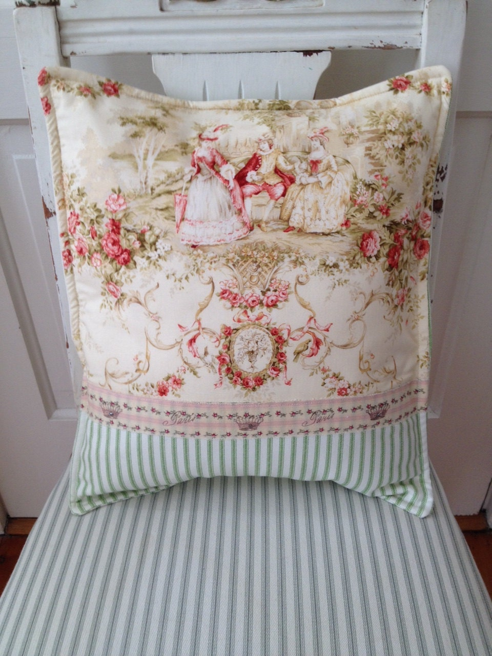French country pillow cover shabby chic pillow paris toile for Toile shabby chic