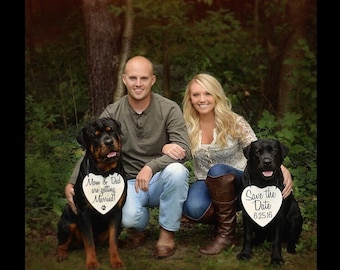Two Dogs Set My Humans are getting Married Save the Date Sign Heart Signs Photography Props Enagement Pictures Wedding Dog