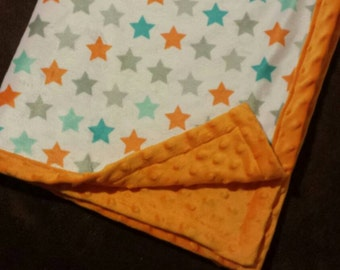 "Orange minky dot and grey, turquoise, and orange printed blanket. (30x30""). Neutral or baby boy blanket"