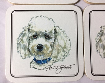 Vintage Poodle Coasters, Cork Backed Coasters, Beverage Coaster Set, Patricia Roberts, set of 6 coasters in original box, poodles