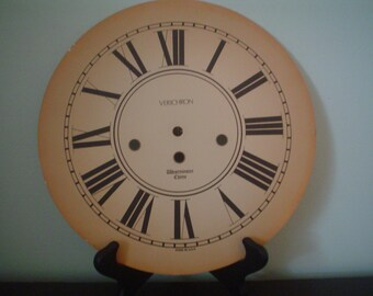 "Large Vintage Clock Face Clock Dial - 10 1/2"" diameter"