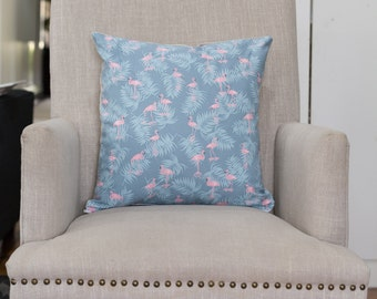 Cushion Cover/Pillow in Flamingo Cotton Oxford Grey and Pink with a French Linen Backing