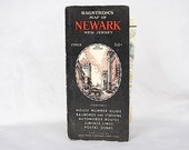 Vintage Map - Newark NJ 1950s - Hagstrom's Map of Newark House Numbers Railroads - Vintage New Jersey Map - Wall Decor - Map Decor  City Map