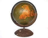 Vintage World Globe - Weber Costello G.W. Bacon Gores - Rare Political Physical Globe - 1939 World War II Globe - Full Meridian