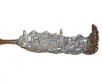 Antique Souvenir Spoon - Collectible Spoon - Antique Silver Spoon - New York City Skyline - Sky View Spoon - New York Public Library