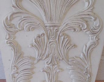 ARCHITECTURAL WALL PLAQUE..Adds detail and texture to all rooms..Paintable...Vintage Appeal..Distressed off whites..Unique and