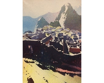 Incan ruins of Machu Picchu- Sacred Valley, Peru.  Watercolor Machu Picchu.  Painting Machu Picchu Peru art.  Fine art watercolor landscape
