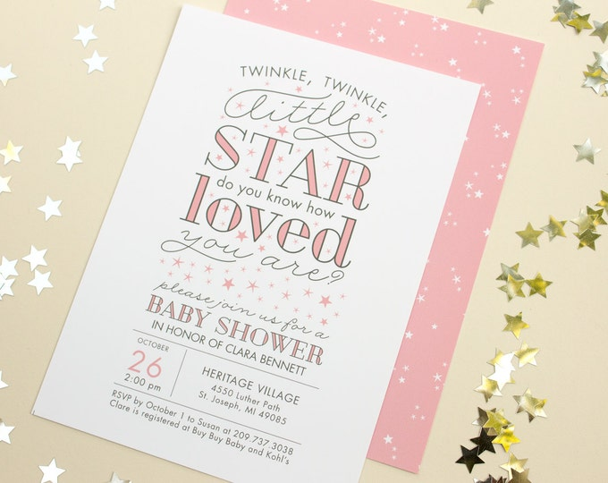 Baby Shower Invitations, Twinkle Twinkle Little Star Party Theme, Winter Baby Shower, Party Invites with Stars