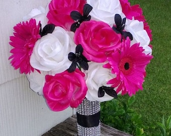 Hot Pink White Black Rose Bridal Bouquet 2 Piece Set, Hot Pink White Bouquet Hot Pink Black Wedding Bouquet, Pink Black Bouquet