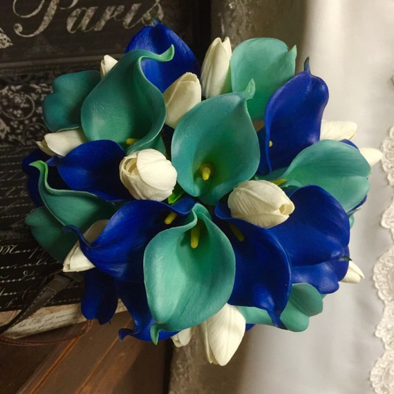 Real Touch Royal Blue Aqua Blue Calla Lily Ivory Tulip Bridal
