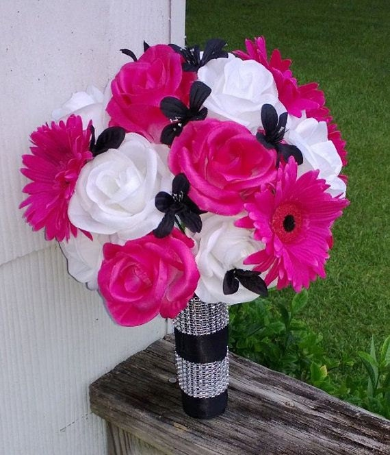 hot pink white black rose bridal bouquet  piece set hot pink, Natural flower
