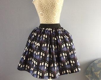 Ladies or girls Dr Who TARDIS full skater style skirt