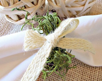 Rustic Napkin Rings, Moss & Jute Bow Napkin Rings, Spring Summer Napkin Ring, Grapevine Napkin Rings, Spring Summer Table Decor Decoration