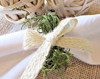 Rustic Napkin Rings, Moss & Jute Bow Napkin Rings, Spring Summer Napkin Ring, Grapevine Napkin Rings, Spring Summer Table Decor Decoration