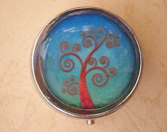 Pill box, Pill case, Pill container, Pill box, Tree of life, Pill case art, Candy container