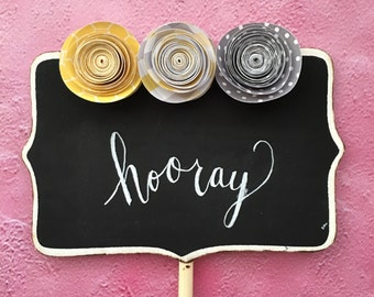 Yellow and Gray Baby Shower, Paper Flowers Wedding, Small Chalkboards, Custom Wedding Signs, Birthday Party Decor, Food Labels