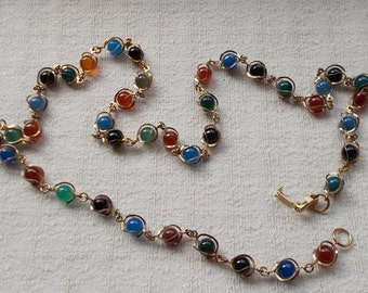 Vintage Round Multicolored Stone and or Glass Caged Bead Necklace  1146