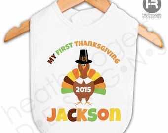 Personalized Baby's First Thanksgiving Bib - Personalized Thanksgiving Outfit