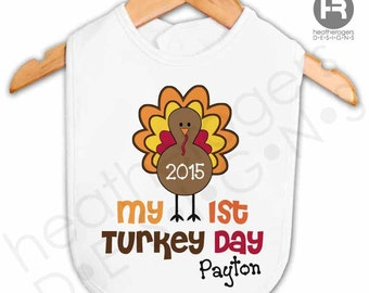 Personalized Baby's First Thanksgiving Bib - My First Turkey Day - Personalized Thanksgiving Outfit