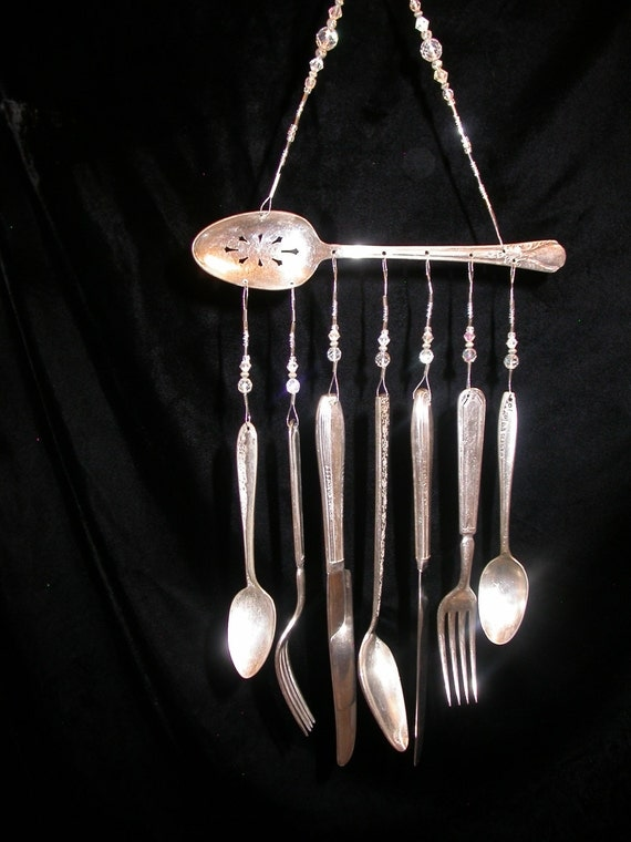 Wind chimes silver plate serving spoon with silverware unique for Wind chimes out of silverware