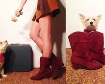 SALE ••• Vintage 60s 70s Ruby Suede Sandler Of Boston Mod Boots    Size 9 Mint Condition Red Penny Lane Maroon Suede