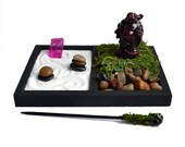 Mini Zen Garden // Laughing Buddha Statue // Desk Accessory // Meditation // Gemstone // Rock Quartz // DIY Kit // Zen // Crystal