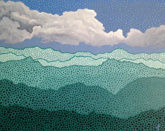Landscape Original Painting Mountain Art Sky Painting The Mountains Are Calling Teal Decor