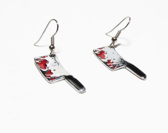 Butcher Knife Earrings Creepy Cute Bloody Knife