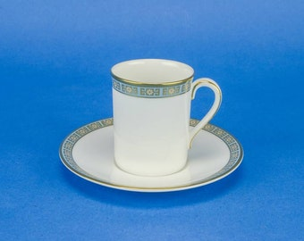 6 Person Vintage Neo-classical Saucer English Cup TEA SET Geometric Royal Doulton Coffee Late 1900s Luxurious China Gold LS