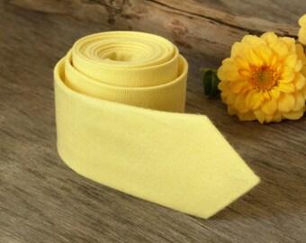 Light Yellow Tie  Lemony Yellow Tie  Men's skinny tie  Wedding Ties Necktie for Men FREE GIFT