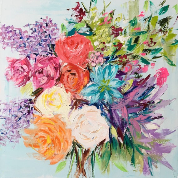 Original oil painting bright bouquet oil on canvas for Bright flower painting