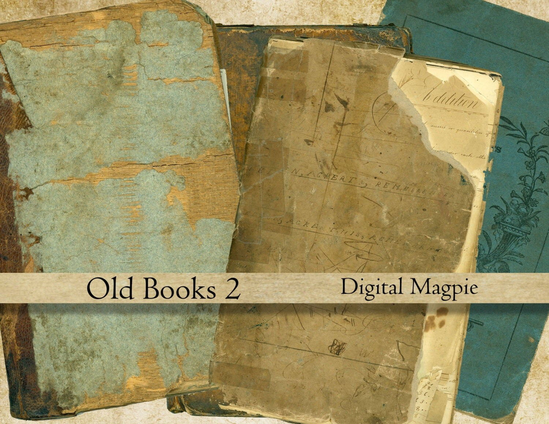 Old book covers digital collage sheet aged vintage antique for Vintage book paper