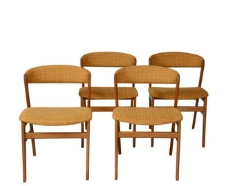 Teak Orange Wool Dining Chairs Mid Century Modern