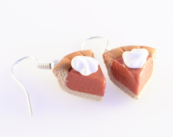 Pumpkin Pie with Whipped Cream Slice Earrings