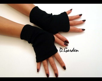 Short Black Cotton Strechy Knitted Soft Fingerless Arm Warmers Gloves Great For Party and Prom