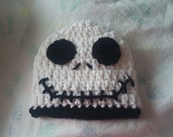 Jack Skellington Nightmare Before Christmas baby crocheted handmade hat size 0 to 6 months.