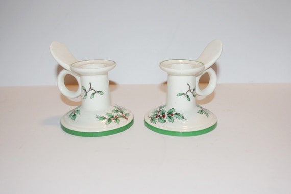 Spode Candle Holders Christmas Tree Low Style Set Of 2