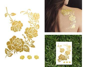 Gold Rose Metallic Temporary Tattoo Set