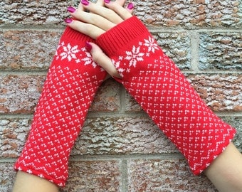 Red and White Fingerless Gloves, Arm Warmers, Texting Gloves, made from a recycled patterned sweater
