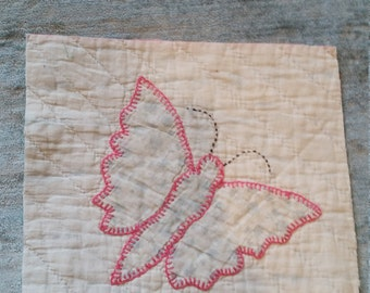 """Appliqued Butterfly Quilt Square  - 10"""""""