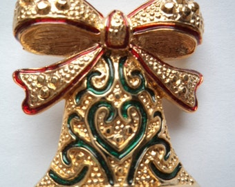 Fabulous Unsigned Vintage Goldtone Decorated Bow Bells Brooch/Pin