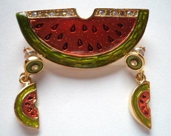 Vintage Signed Danecraft Goldtone/Rhinestone Slice of Water Melon Brooch/Pin/Earrings