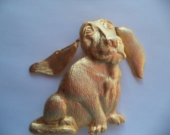 Vintage Signed JJ Gold pewter Bassett Hound with Dangle Ears Brooch/Pin